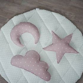minky fabric soft baby play mat with pink cushions