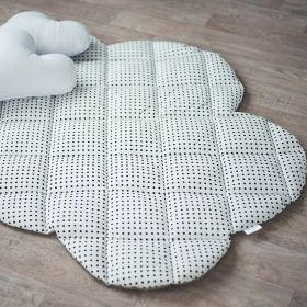 white soft baby play mat with black dots and in cloud shape with white cushions