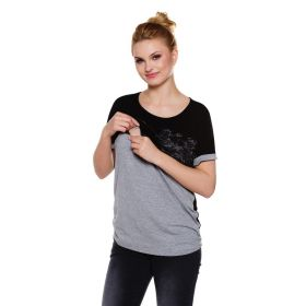 Grey maternity blouse with black lace