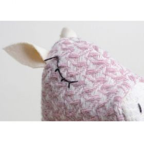 woolen pink pig hand puppet with white ears