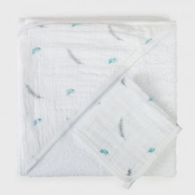 Hooded towel & wash cloth set - Feather
