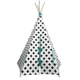 tepee with blue colour ribbons with white back ground