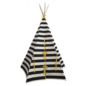 teepee in storage bag, framed images, soft toy on little chair and toys