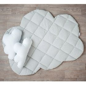 white soft baby play mat with black dots and in cloud shape