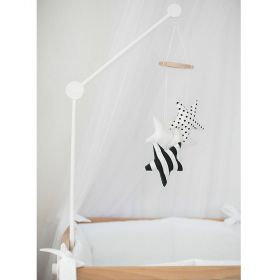 white cot mobile holder and cot mobile with black and white starts