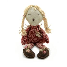 beautiful little girl soft doll with blond hair and red dress, brown shoes made from wool