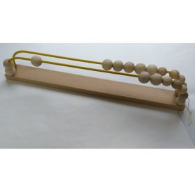 wooden abacus has two yellow metallic rows of ten beads
