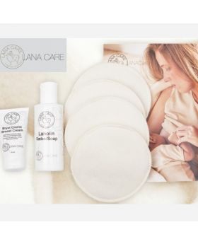 small breast cream, lanolin soap, 2 pairs of woolen breast pads and an image of a woman breastfeeding