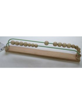 wooden abacus has two mint green metallic rows of ten beads