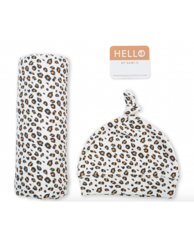 Newborn swaddle set - leopard