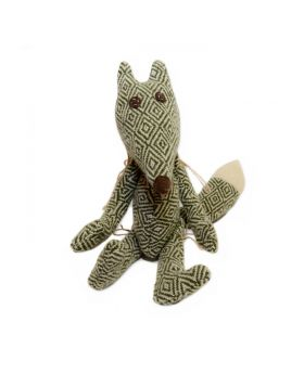 green fox soft toy with brown eyes and nose