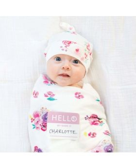 Newborn swaddle set - Posies Print