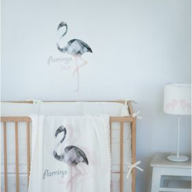 Linen flamingo blanket