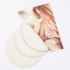 one pair of woolen nursing pads with a breastfeeding mother image underneath
