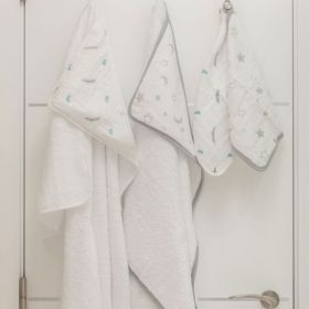 Hooded towel & wash cloth set - Moon and star