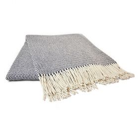 black and white wave pattern sheep wool blanket