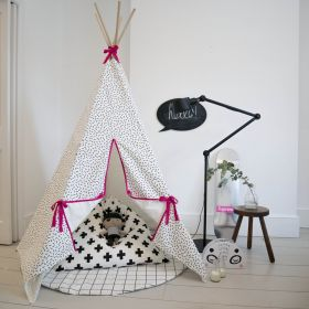 Dash print teepee with pink trim