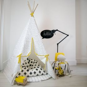 Dash print teepee with yellow trim