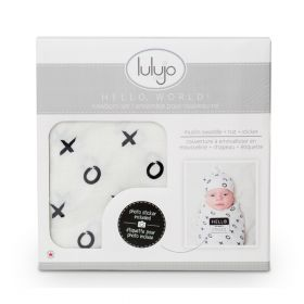 Hello World newborn hat & swaddle set - hugs & kisses