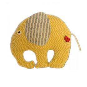yellow elephant soft toy with grey ears