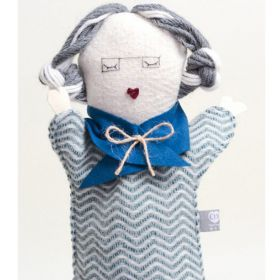 Handmade woolen old granny hand puppet with grey platted hair, glasses and blue scarf