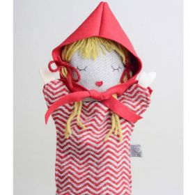 little red riding hood hand puppet with blond hair and red hat