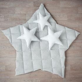 white soft baby play mat with black dots in star shape