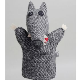 handmade grey wolf hand puppet made out of wool