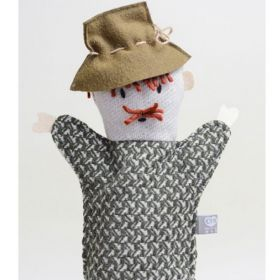 little old man with mustache and hat hand puppet