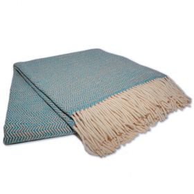 turquoise and orange wave pattern sheep wool blanket