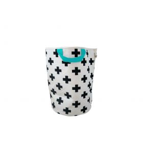 Monochrome storage bag with colourful handle