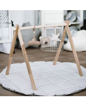 Natural baby gym stand & animal toys