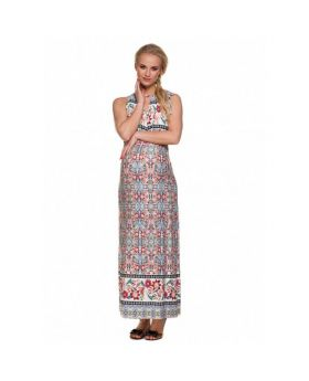 Pregnant woman wearing long maxi dress with  red and blue flower patterns