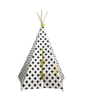 tepee with yellow colour trim with white background