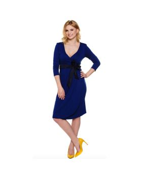 Blue dress with black ribbon