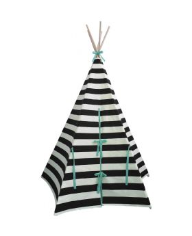 teepee in the nursery with chair, cushions and wildfire tepee logo