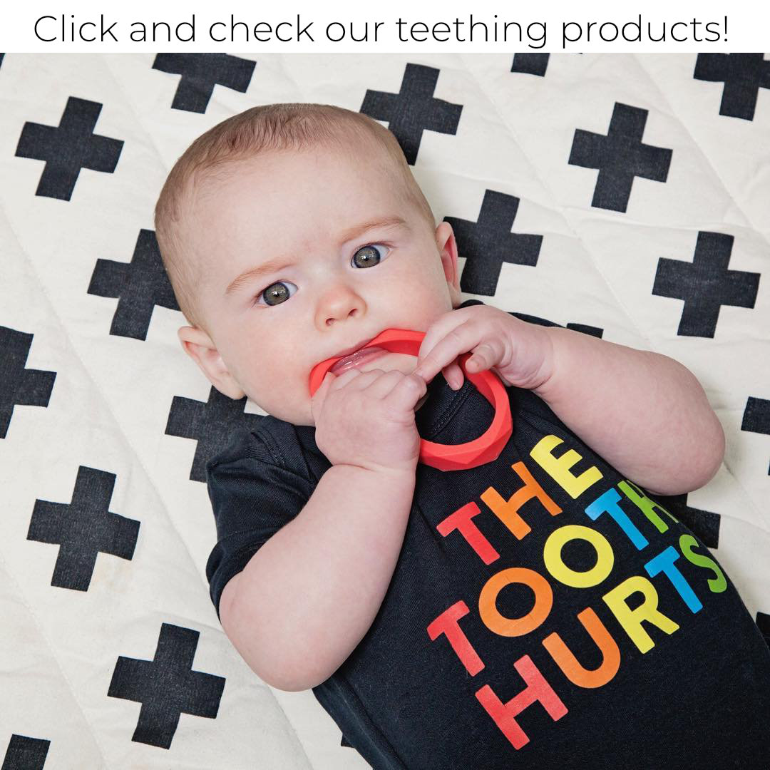 baby with teething bracelet
